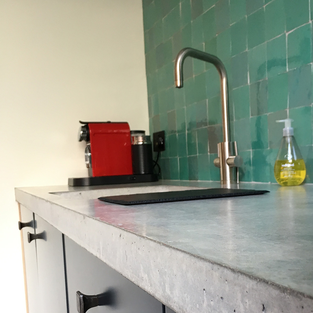 Conscious Forms - homerton london small straight concrete worktop edge detail