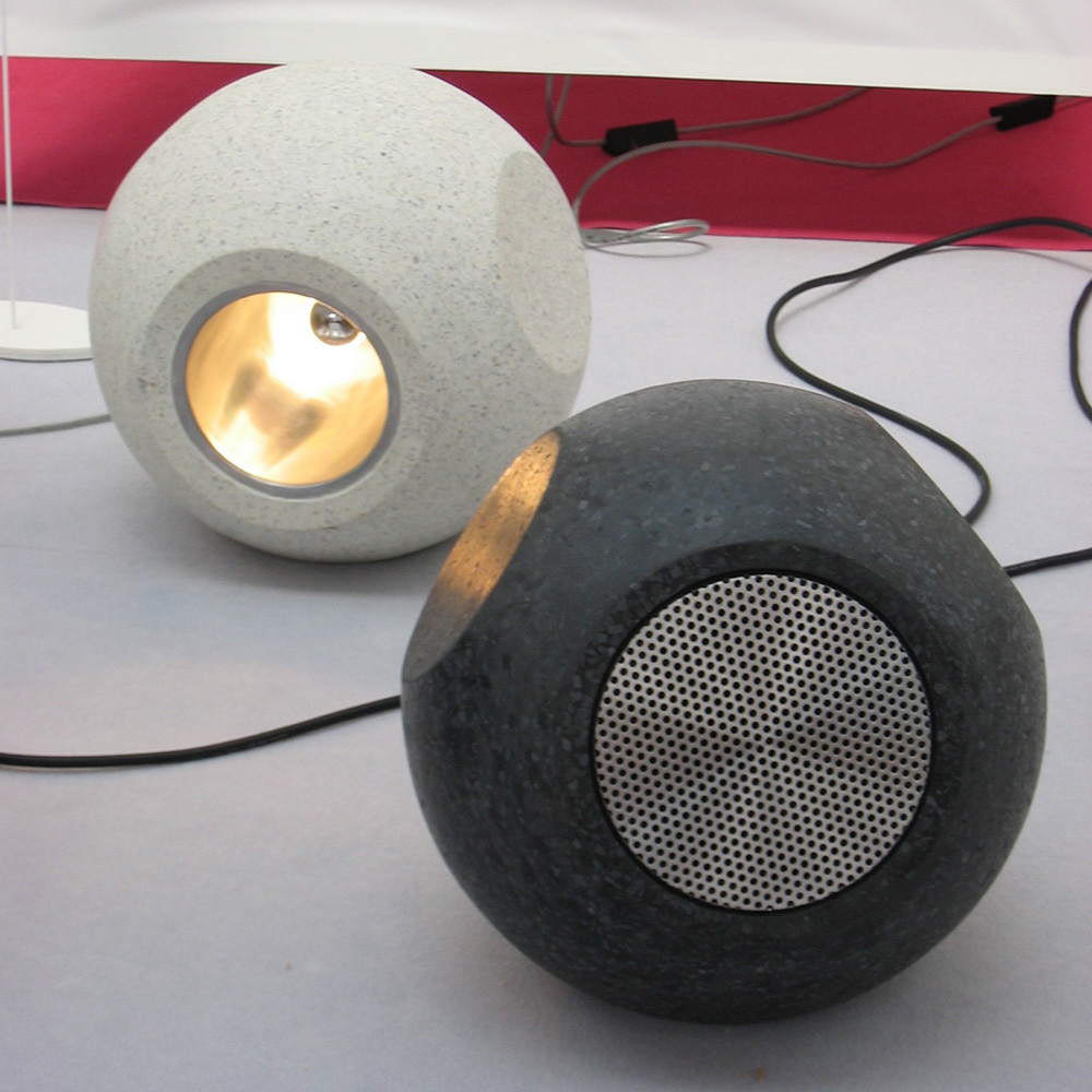 Conscious Forms - orb sculptural concrete light and orb loudspeaker house garden show