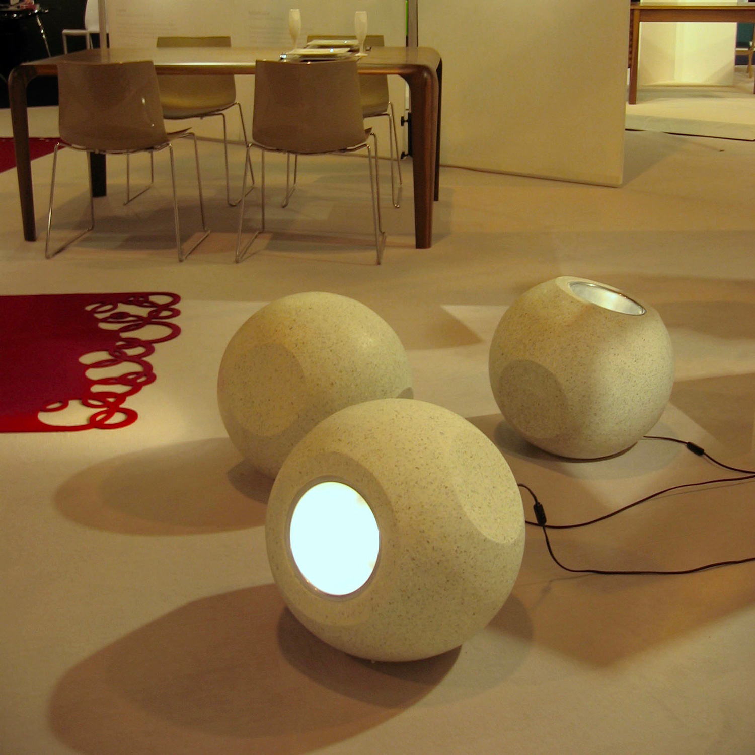 Conscious Forms - orb sculptural concrete light white terrazzo sculptural up cross lighting2