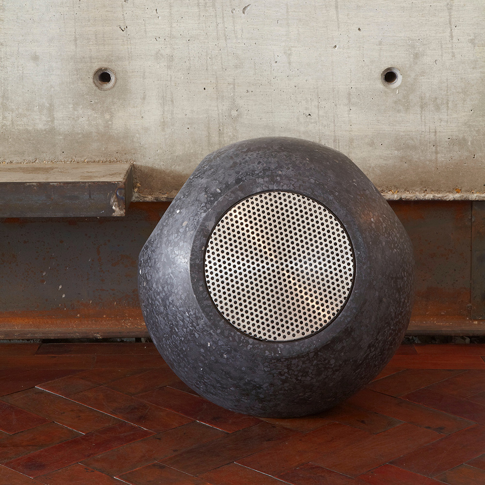 Conscious Forms - orb sculptural concrete loudspeakers stainless steel grill white rabbit restaurant