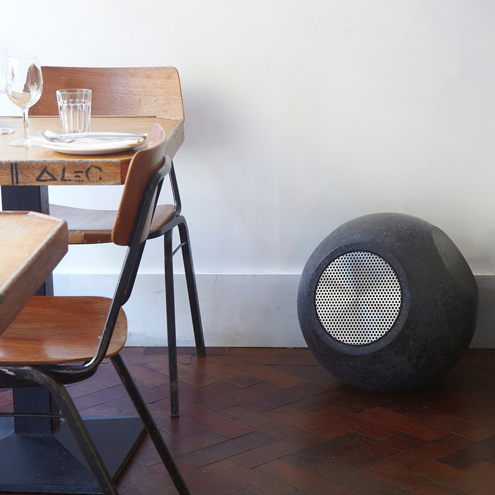 Conscious Forms - orb sculptural concrete loudspeakers white rabbit restaurant
