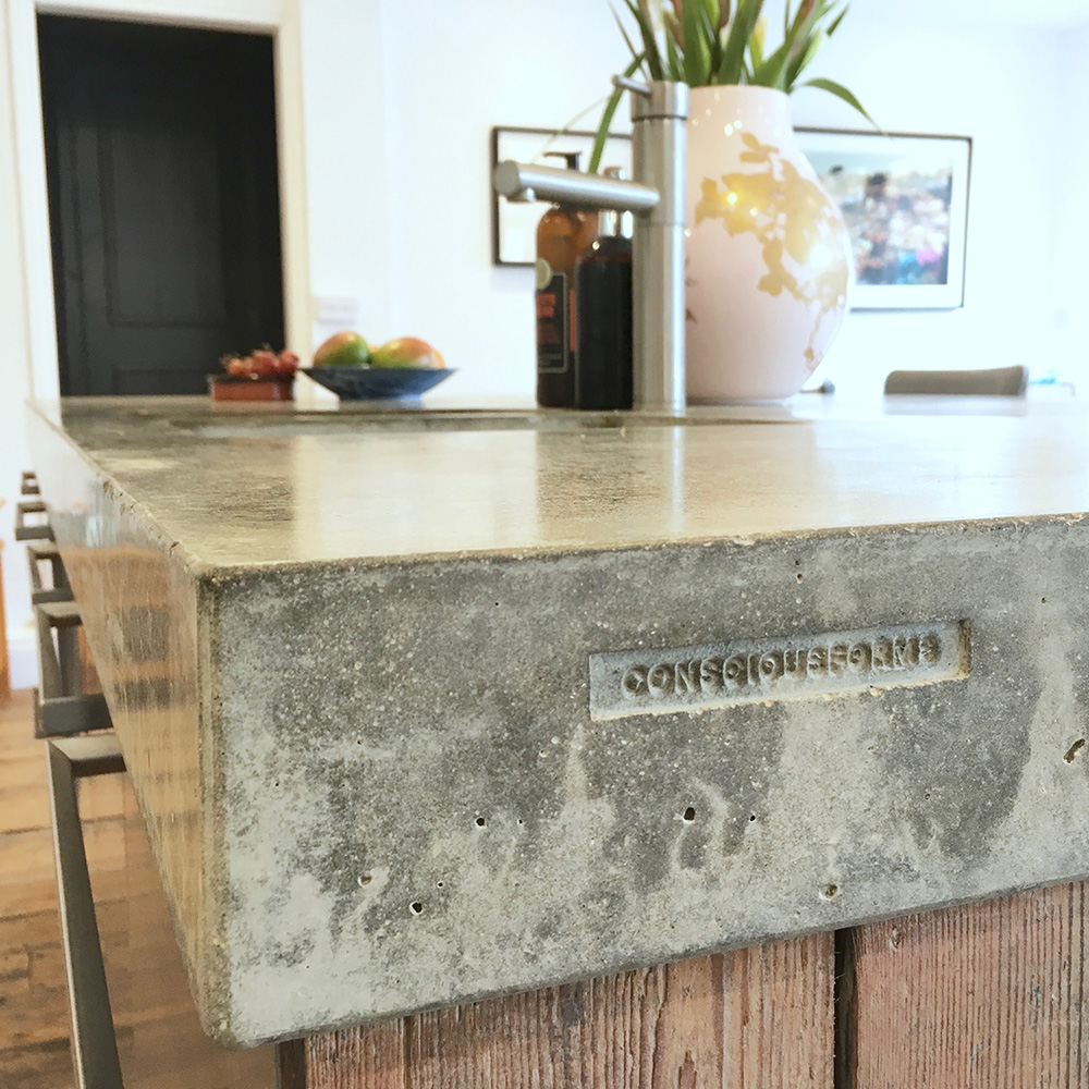 Conscious Forms - peckham london 80mm thick concrete island worktop edge detail