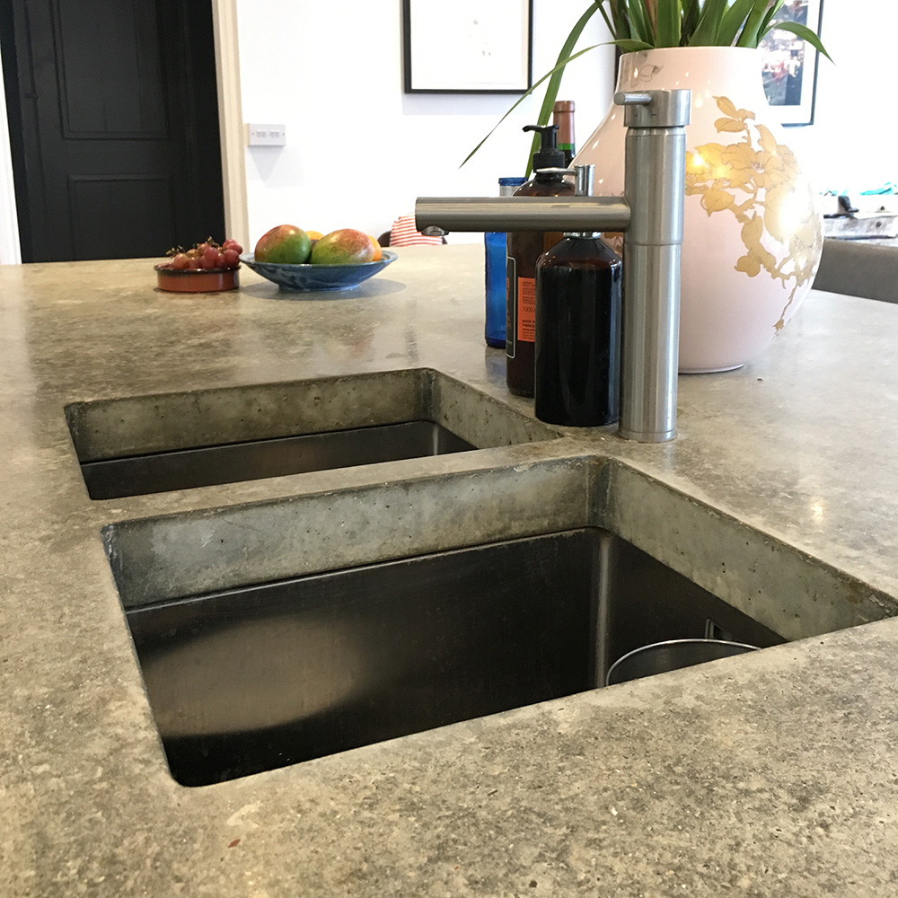 Conscious Forms - peckham london 80mm thick concrete island worktop with twin sinks detail