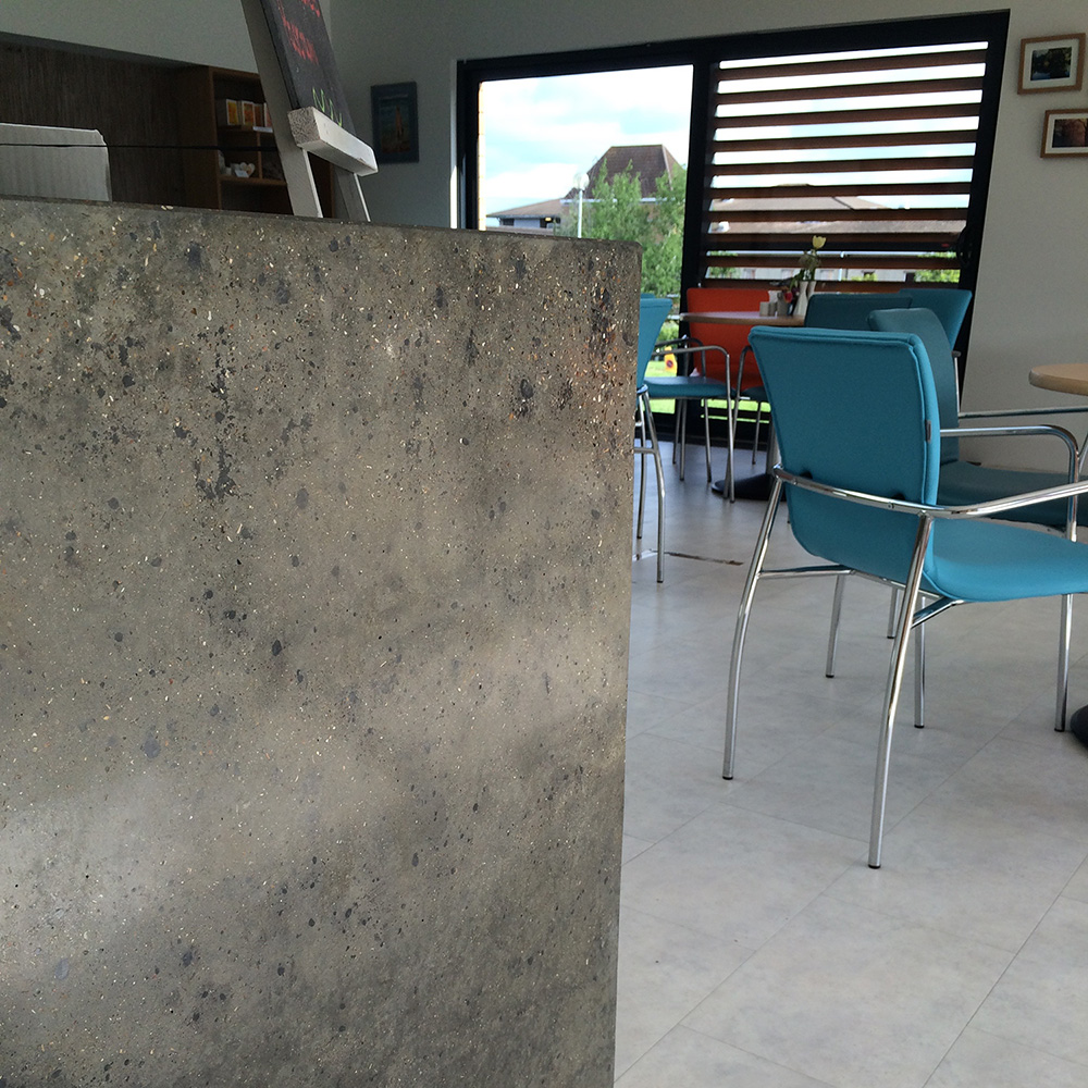 Conscious Forms - st raphaels hospice cheam orangery cafe polished concrete service counter with waterfall ends standard grey exposed aggregate finish detail