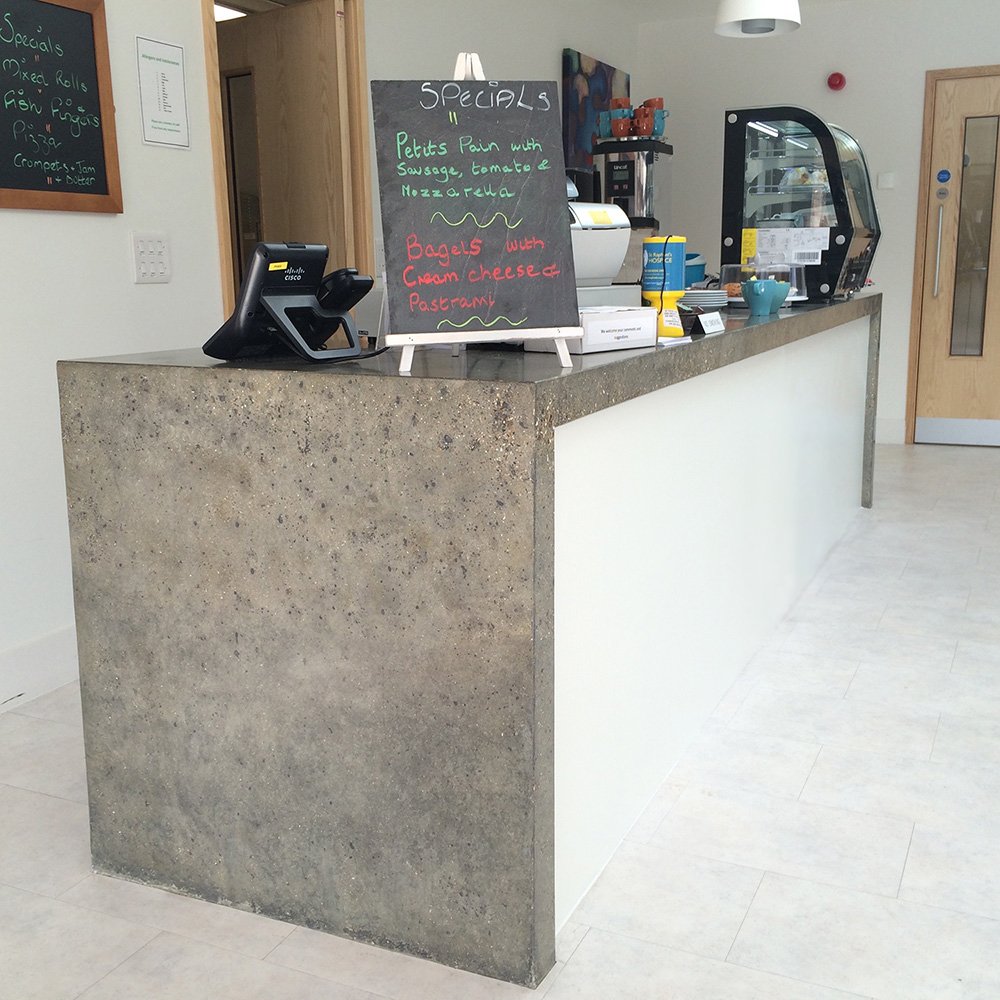 Conscious Forms - st raphaels hospice cheam orangery cafe polished concrete service counter with waterfall ends standard grey exposed aggregate finish front