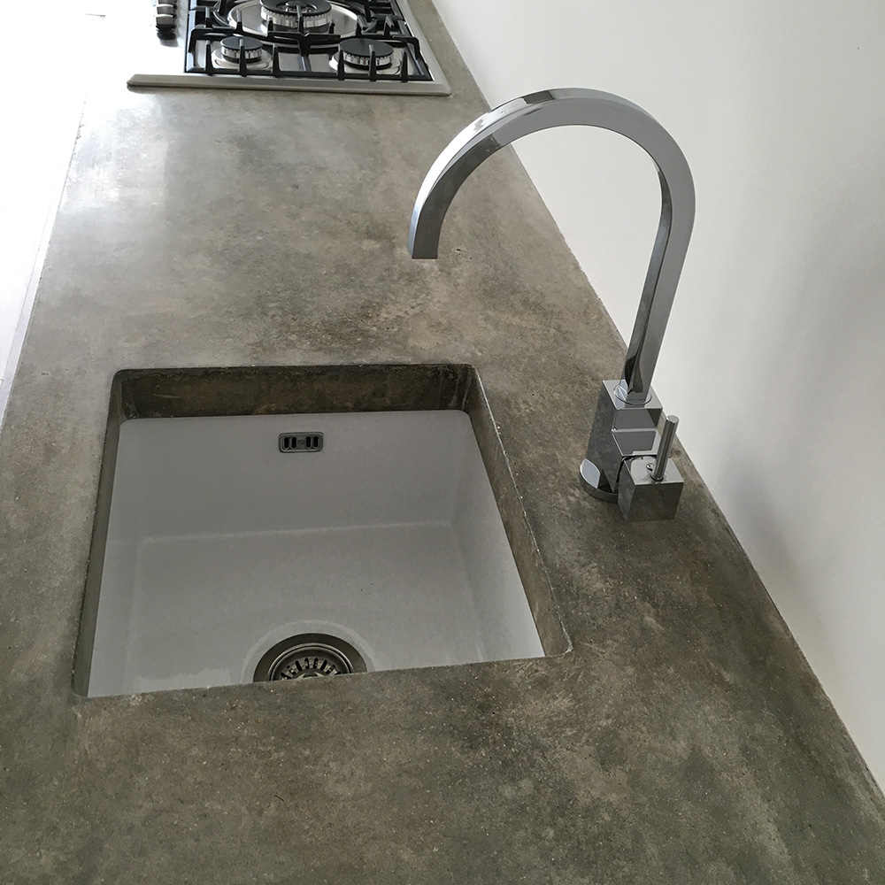 Conscious Forms   Walthamstow Polished Concrete Kitchen Worktop Standard  Grey With Cut Outs For Undermount Sink