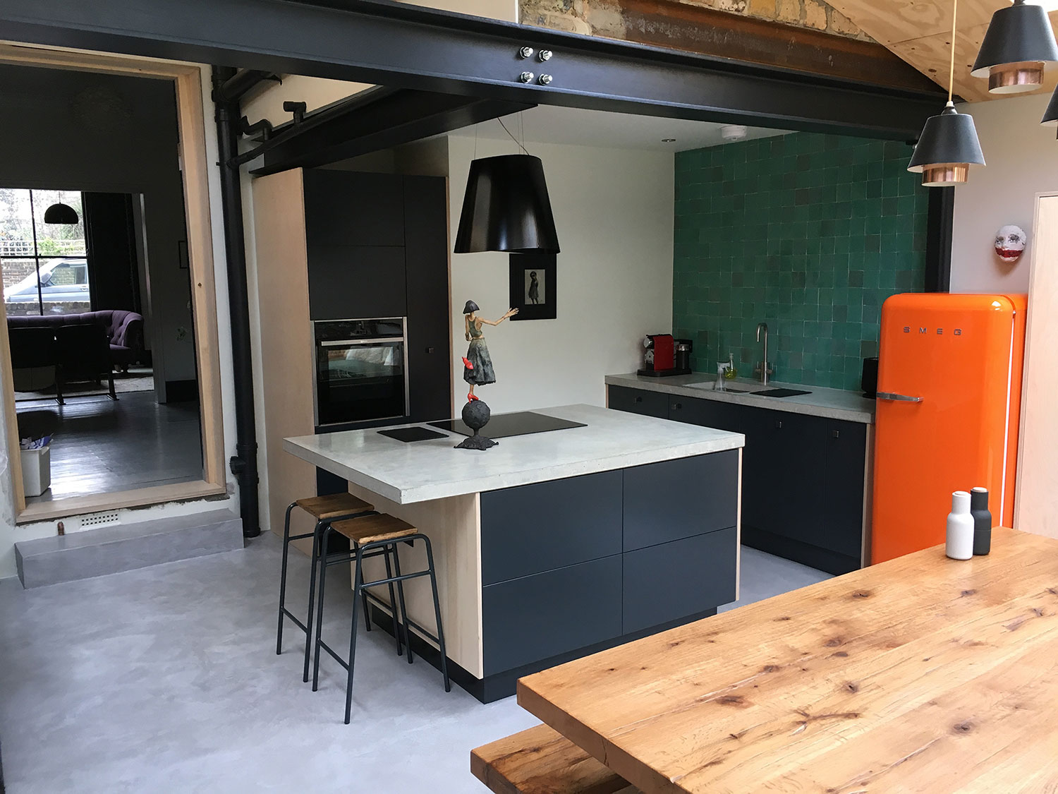 Conscious Forms - homerton london small concrete island worktop and small straight concrete worktop 60mm thickness