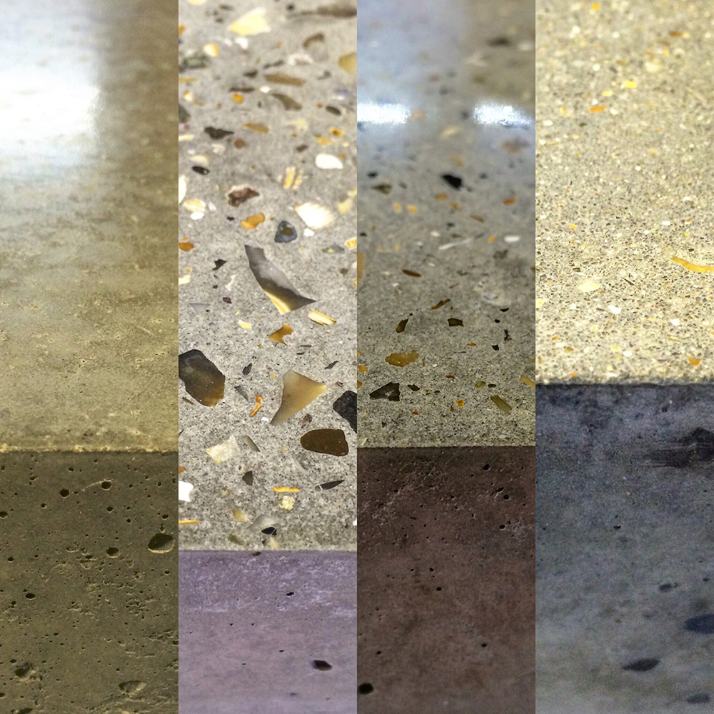 Conscious Forms - polished concrete worktop surface finish samples l r cementitious trowel finish heavily ground exposed semi ground exposed partially ground exposed aggregate