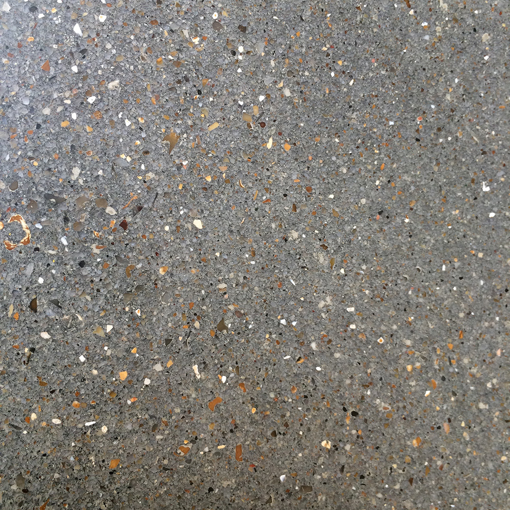 Conscious Forms - st raphaels hospice cheam orangery cafe polished concrete service counter standard grey ground exposed aggregate finish surface detail close up