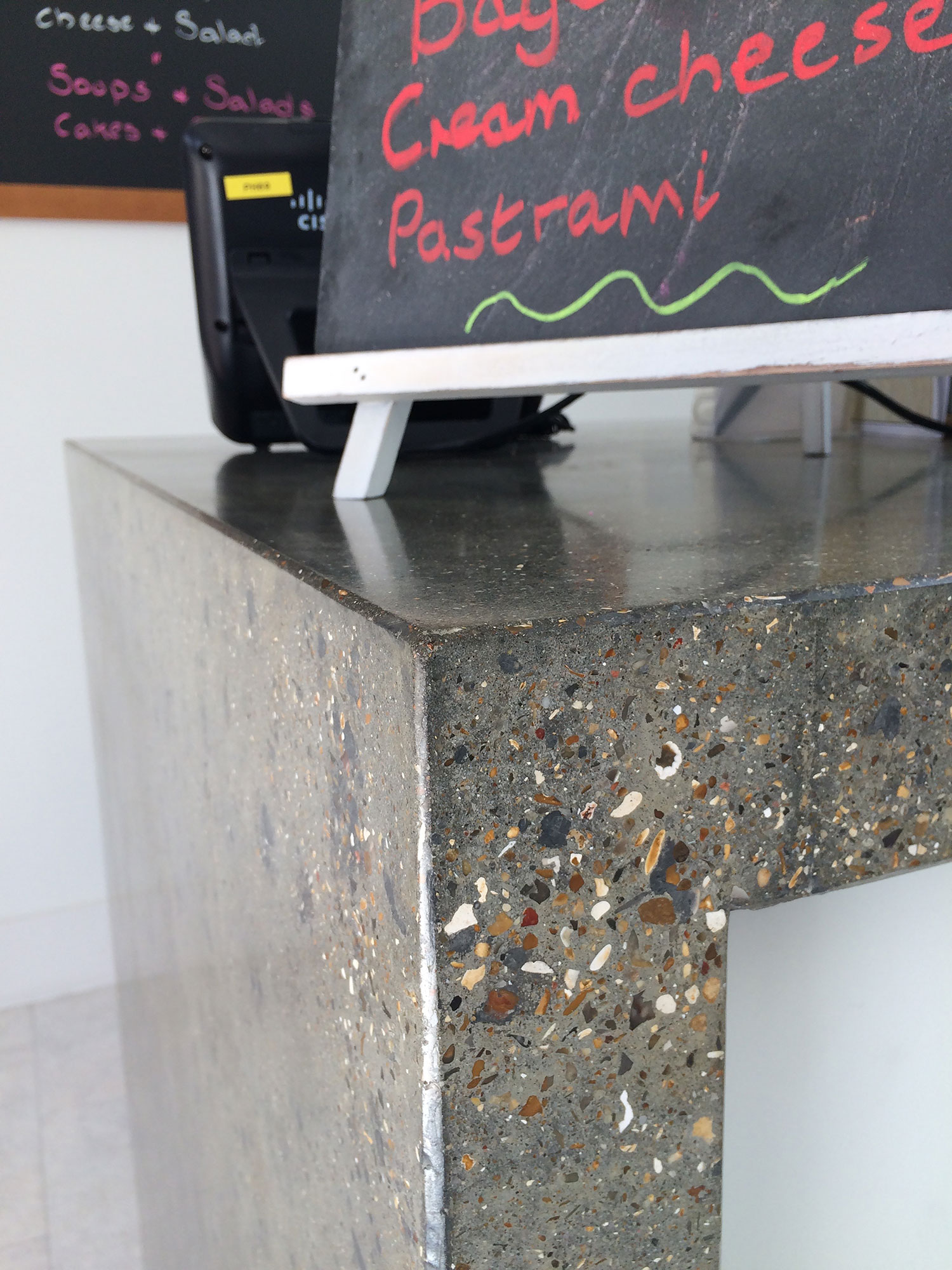 Conscious Forms - st raphaels hospice cheam orangery cafe polished concrete service counter with waterfall ends standard grey exposed polished aggregate finish detail
