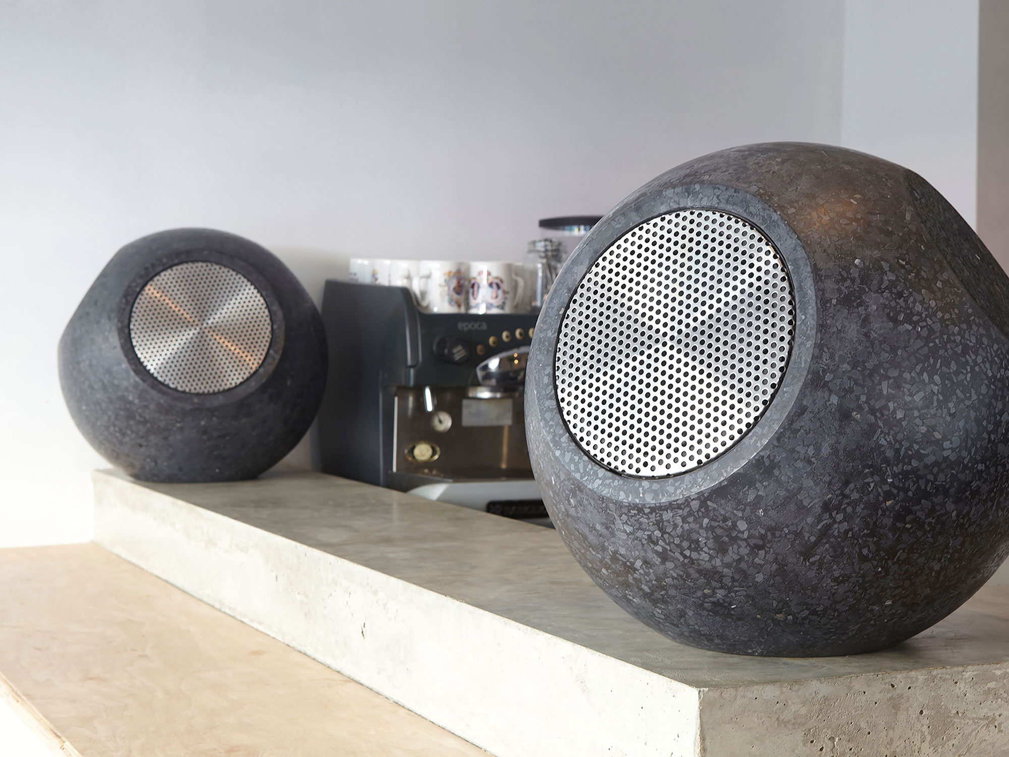 Conscious Forms - orb sculptural concrete loudspeakers white rabbit restaurant 2