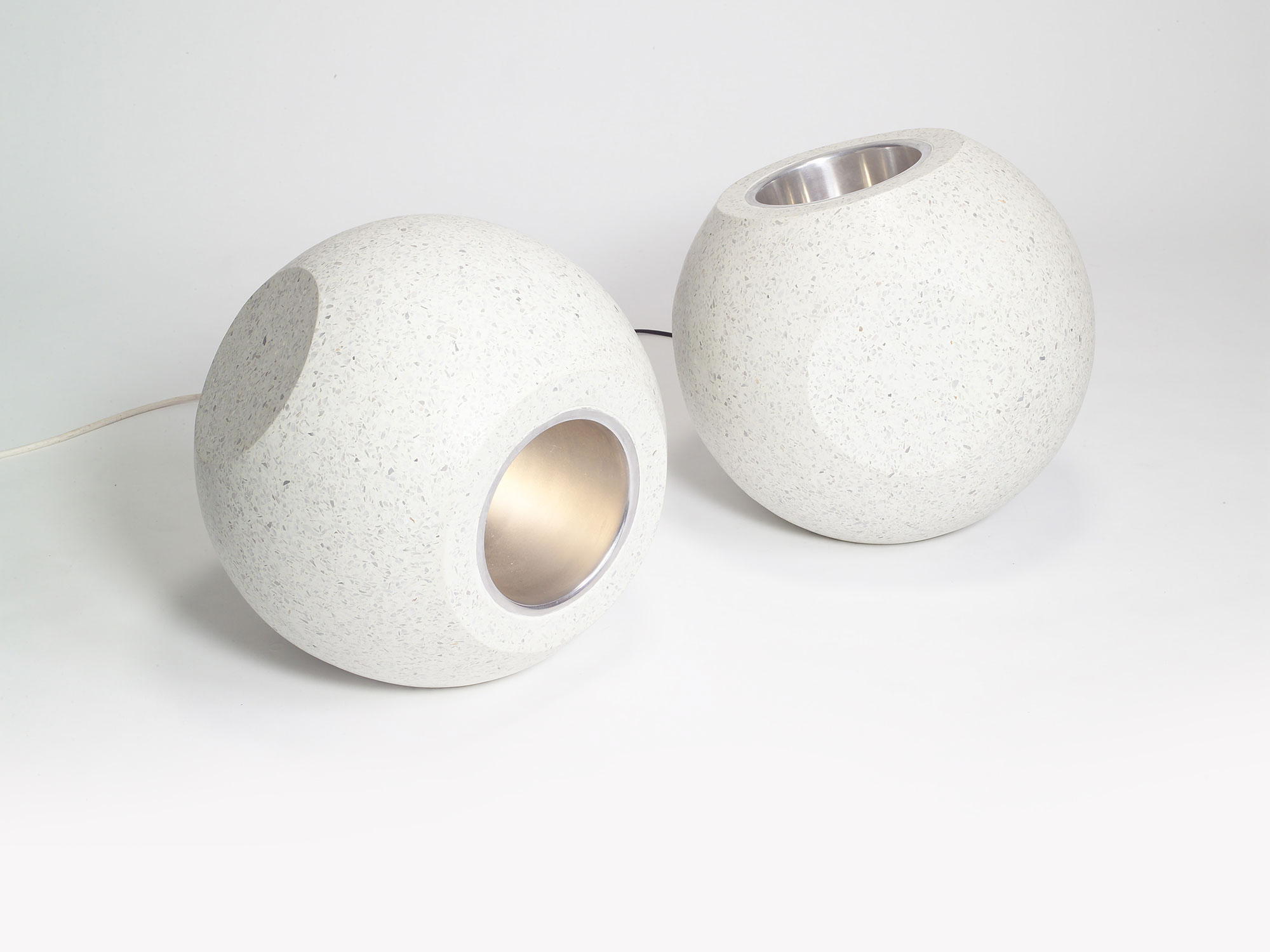 Conscious Forms - orb sculptural concrete light polished white terrazzo 400mm